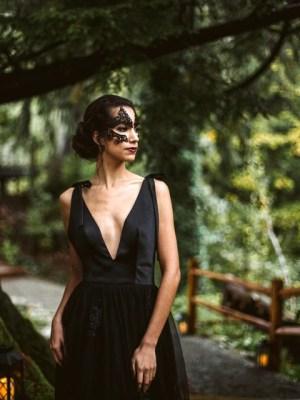 gray bridge event venue black wedding dress french knot couture snohomish wedding seattle photographer