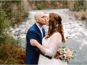 north bend elopement near the river at an airbnb