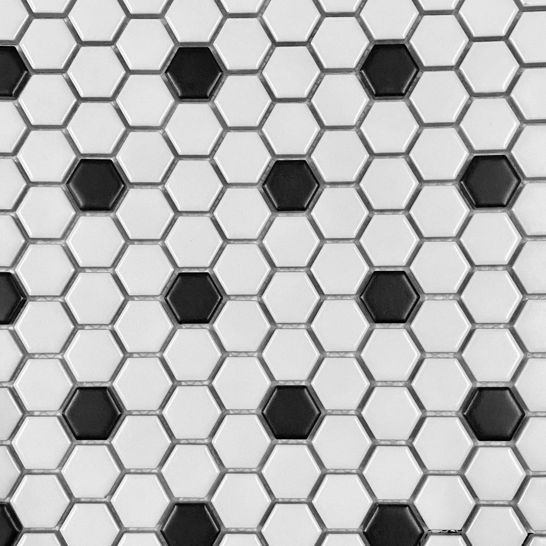white black hexagon tiles 1 matte from