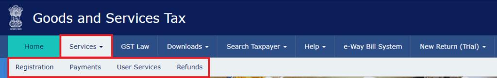 Service Tab on GST Portal