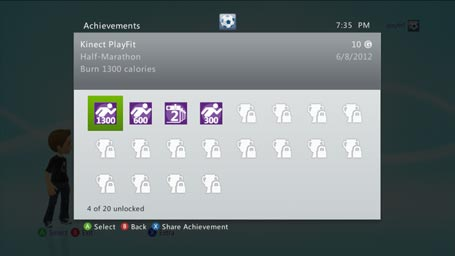 Xbox Kinect PlayFit - Achievements