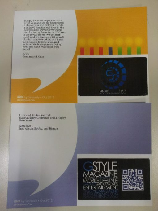 Sincerely Ink App - Holiday Card Samples (Back)