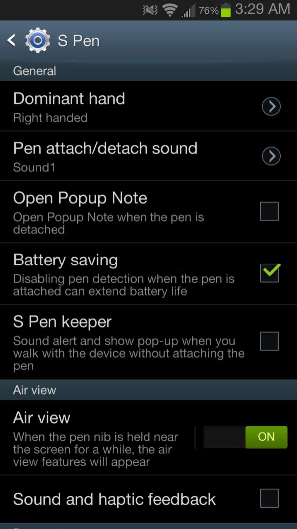Samsung Galaxy Note II - S Pen Settings