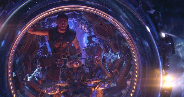 Marvel Studios' AVENGERS: INFINITY WAR. Thor (Chris Hemsworth), Rocket, Groot