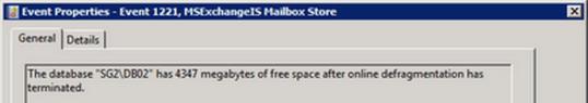 Event 1221 Database Whitespace
