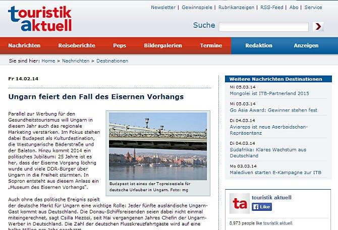 A magyarországi határnyitásról és egészségturizmusról ír a német Touristik Aktuell