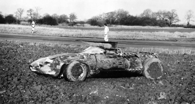 The Jaguar XJ13 after crashing at MIRA. Jaguar Daimler Heritage Trust
