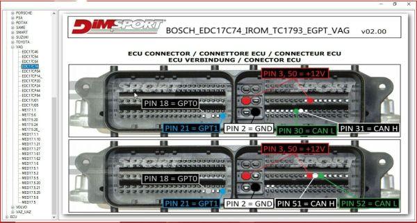 BOSCH MEDC17 ECU PIN OUT SOFTWARE 2021 8 57 65