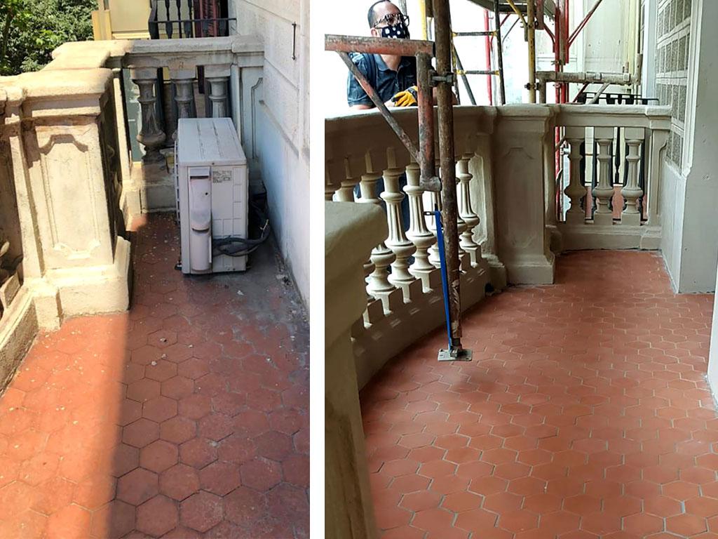 Antes y después rehabilitación suelo del balcón tribuna