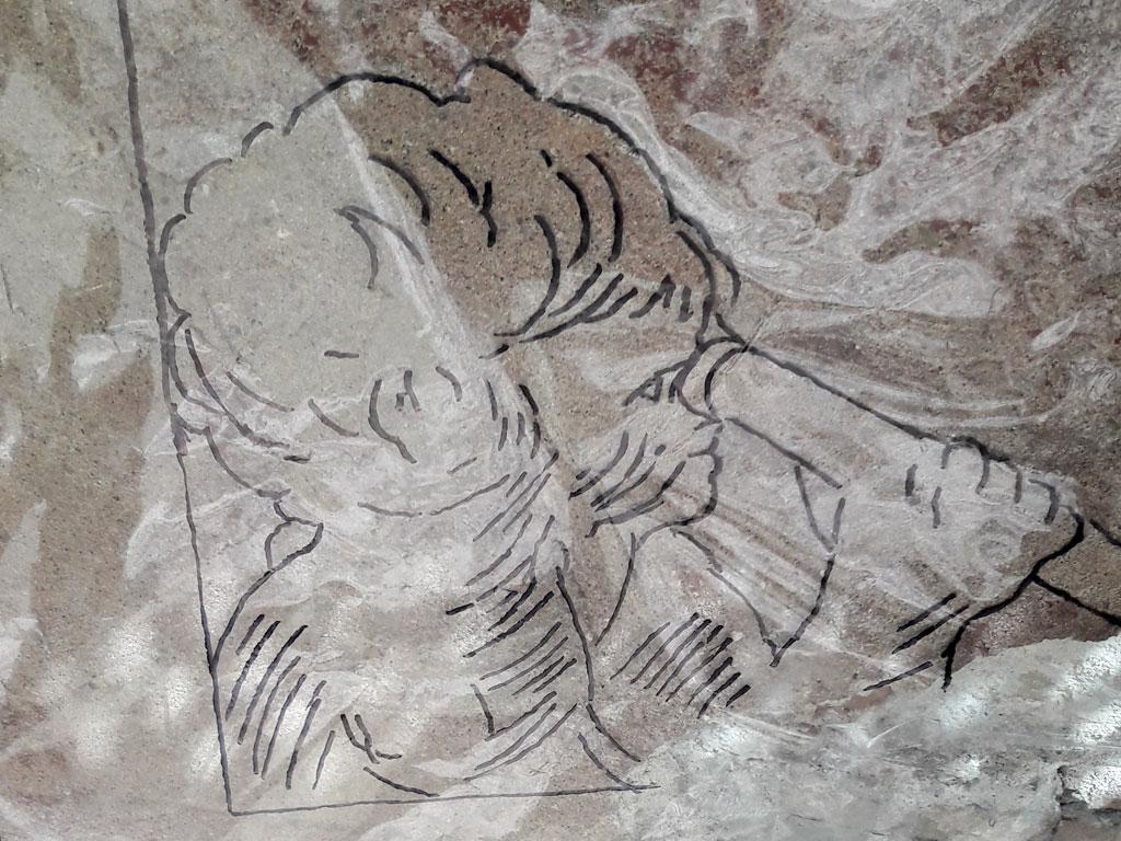 Calca a mano alzada para reproducir esgrafiado angelito barroco