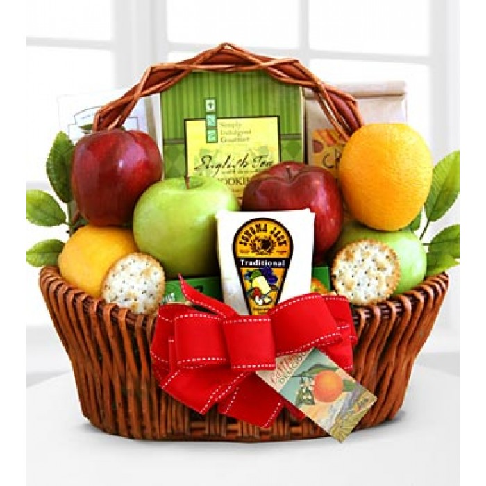 Fruitful Greeting Gourmet Basket, sympathy basket, Canadian food gift, grieving gift, edible arrangement Toronto, sympathy hamper delivery Thorn Hill
