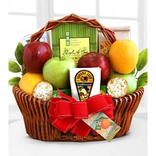Fruitful Greeting Gourmet Basket, sympathy basket, Canadian food gift, grieving gift, edible arrangement Toronto, sympathy hamper delivery Thorn Hill