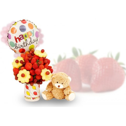 Happy birthday fruit arrangement