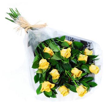12 Yellow Roses, flower shop, rose bouquet