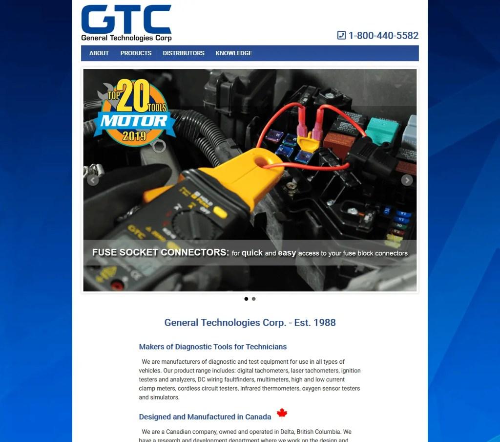Screenshot of Old GTC Website