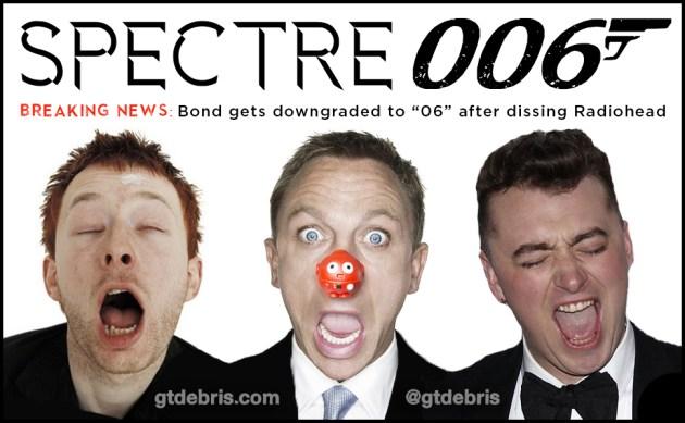 Radiohead Spectre Theme Release Crushes Sam Smith & Downgrades James Bond to 006