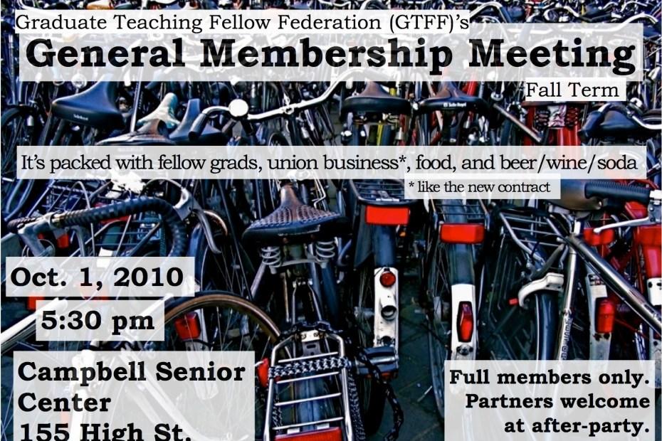Flier for the GTFF Fall 2010 General Membership Meeting