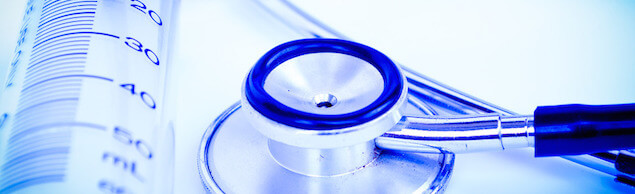 A stethoscope in front of medical