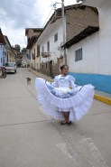 Melissa ready to party with her dress from Trujillo to dance the Marinera - Huari
