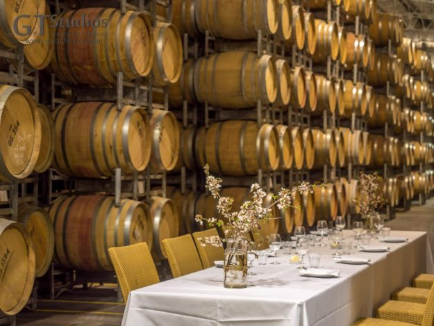 DInner was served at 4 locations at the winery. Main course was in the barrel hall amongst thousands of oak barrels full of fine wine.