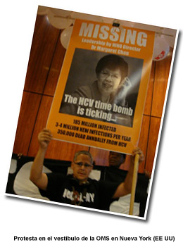 Foto: Protesta en el Hall de la OMS en Nueva York