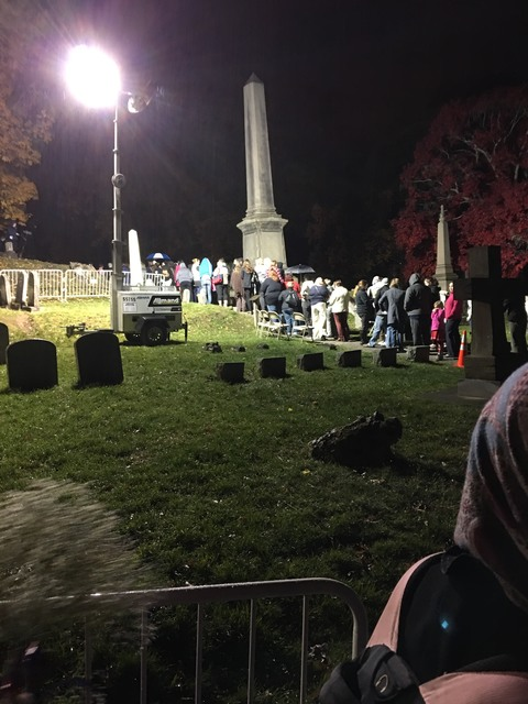 People line up to pay their respects at Susan B. Anthony's grave