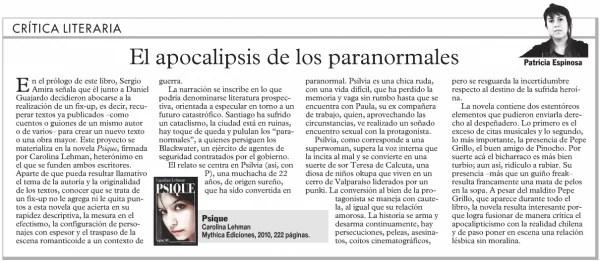 Crítica literaria de Psique en LUN 2010 - Patricia Espinoza