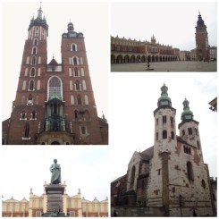 2. From top left, clockwise: St. Mary's Church; the Town Hall Tower and the Cloth Hall surrounding the main market square; the St. Peter and Paul Church; as well as a bronze monument of Adam Mickiewicz, an admired Polish romantic poet.