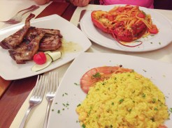 10. Italian dinner of crayfish and shrimp risotto, lobster tagliatelle, as well as lamb cutlets, and we also shared a plate of fried calamari.
