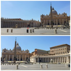 16. In Vatican City, at Saint Peter's Square, where there is a panoramic view of the Papal Basilica of Saint Peter in the Vatican.