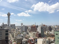 2. For the five nights in Osaka, the seven of us booked an apartment – furnished with a well-stocked and well-equipped kitchen, a laundry area, and three bedrooms around a dining and rest space – in the Ebisuchō area. This is the view from our balcony.