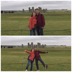 23. Posing for a candid photograph in front of Stonehenge.