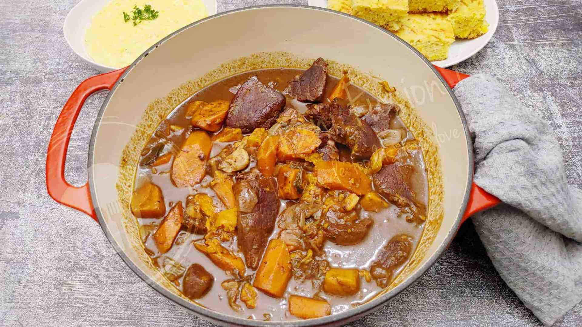 Delicious Oven Beef Stew with Carrots and Sweet Potatoes