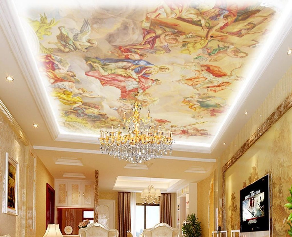 3D european style roof e1512593089613 - Give Your Room A Stylish Touch With 3D Wallpapers
