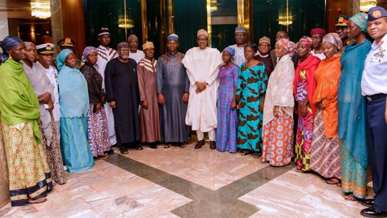 Image result for Buhari receives rescued lecturers, police officers' wives in Abuja