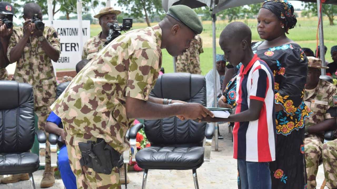 Borno Government On Friday Donated N23.5 Million To Support Families Of The 47 Soldiers Who Lost Their Lives Fighting Boko Haram In Gorgi Village, On March 22. Gov. Babagana Zulum Said While Addressing Widows Of The Slain Military Personnel At Maimalari Cantonment In Maiduguri That Each Of