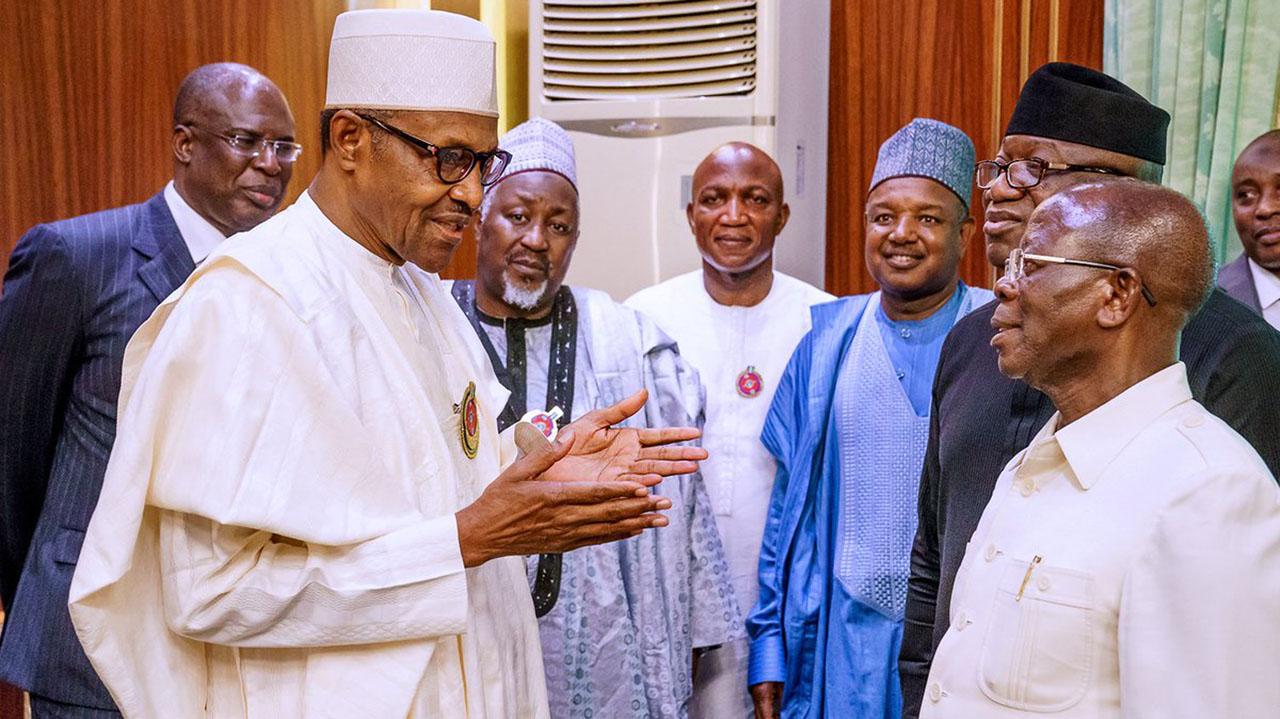 Oshiohmole Presents Re Elected Governor Of Kogi, Yahaya Bello, To Buhari At Aso Rock