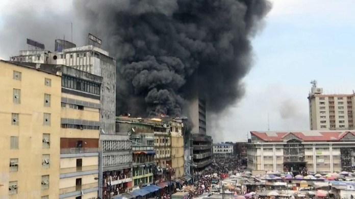 fire scene in Lagos