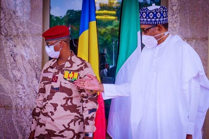 President Muhammadu Buhari with Chad military leader Gen. Mahamat Idris Deby Itno