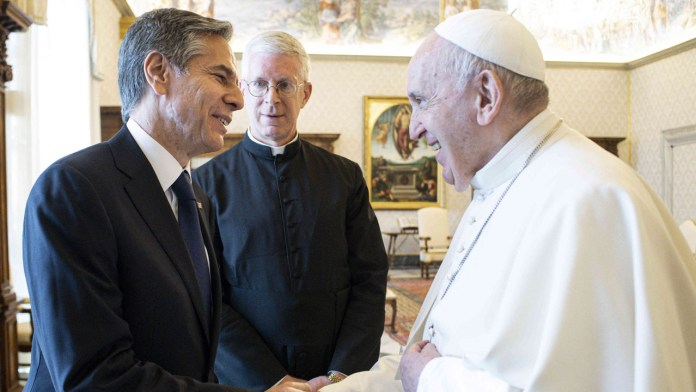 Pope Francis and Antony Blinken