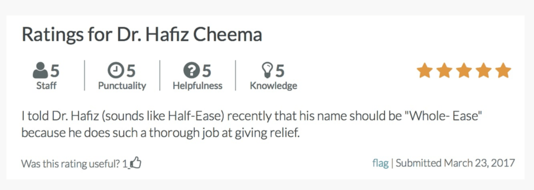 Review for Dr. Hafiz Cheema