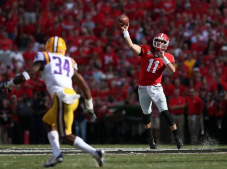 Aaron Murray tossed four TDs against LSU, knocking off a top ten foe and inching Georgia closer to a BCS bid in 2013.