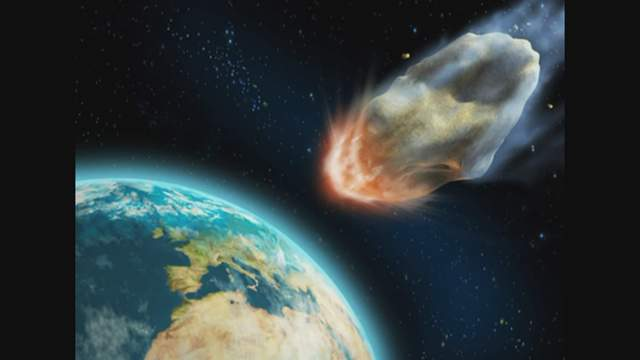 Asteroid hiting Earth