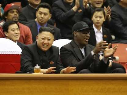 Dennis Rodman watches game with Kim Jong-Un