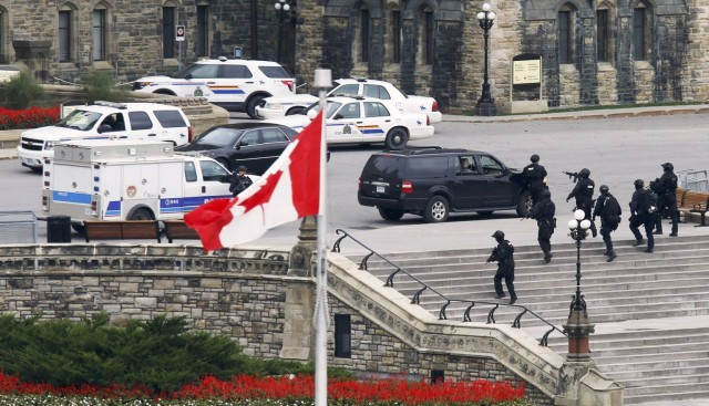 Police outside the Parliament in Ottawa