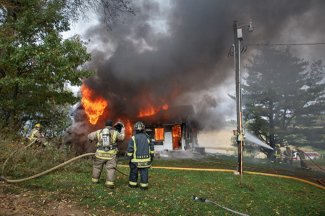 Firefighters Battle House Fire in Pittsburgh, Pennsylvania