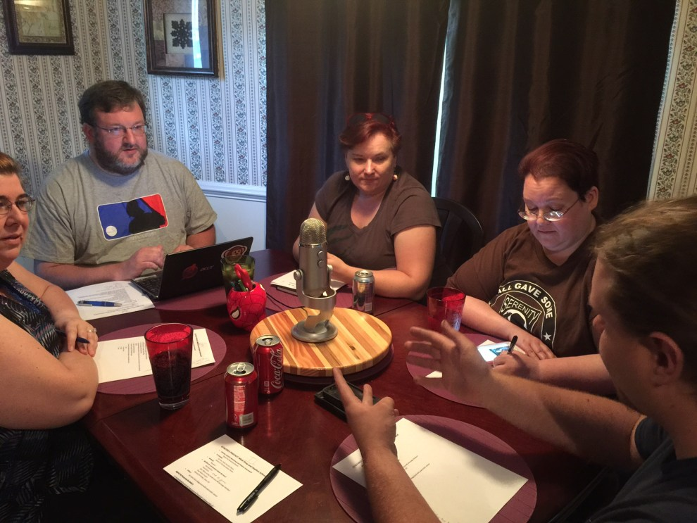The recording of Episode 22 - Starneslord, Carol the Cat, Micki Knop and the back of Stephen Schonewolf