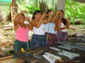 girls preparing bolts