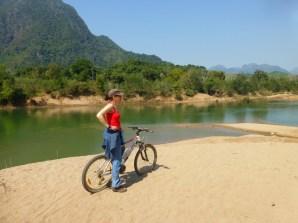 enjoying the amazing scenery at river Nam Ou