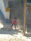 little girl against the dust